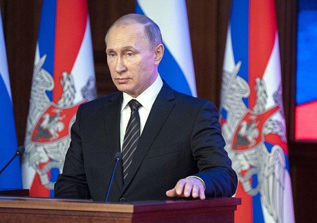 Prezydent Rosji Władimir Putin na posiedzeniu Ministerstwa Obrony Rosji