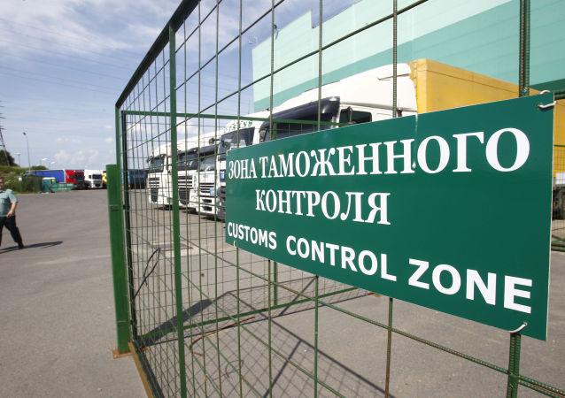 Wejście do strefy kontroli celnej w Domodiedowie pod Moskwą