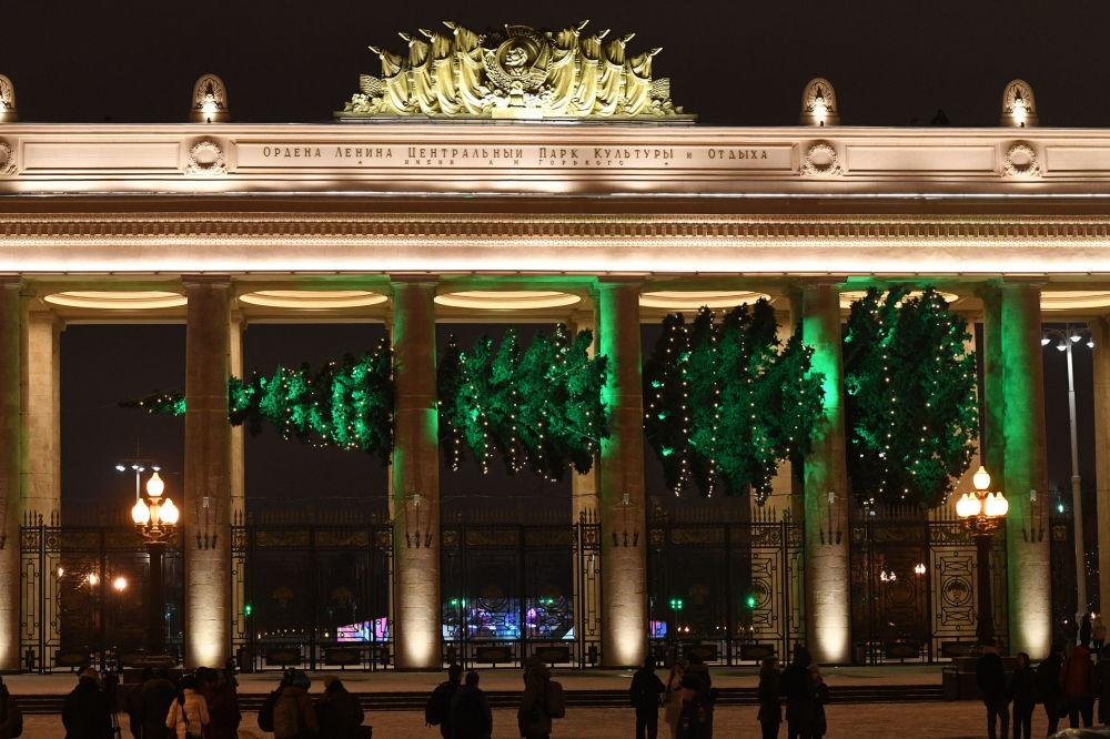 Park Gorkiego w Moskwie. Pozioma choinka