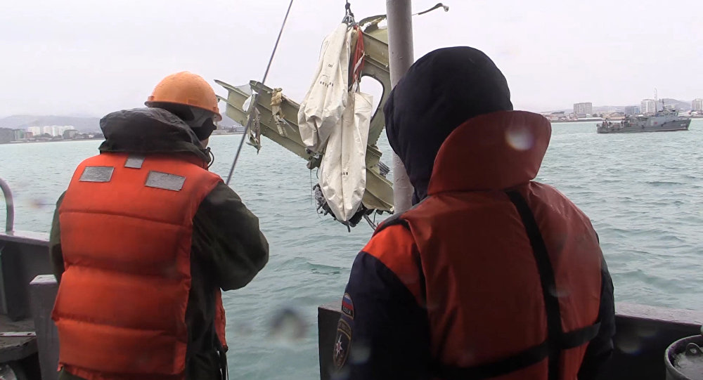 Retrieving the wreckage of the crashed Tu-154 aircraft in the Black Sea near Sochi