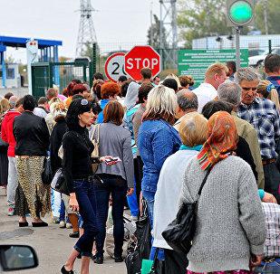 Ukraińscy migranci na granicy z Rosją