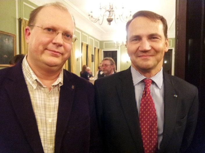 Były minister spraw zagranicznych Radosław Sikorski i dziennikarz Rossiya segodnya Leonid Swiridow. Warszawa, styczeń 2014.