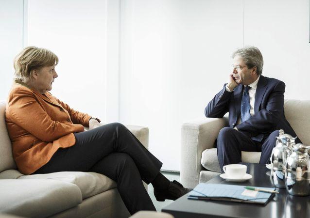 Kanclerz Niemiec Angela Merkel i premier Włoch Paolo Gentiloni w Berlinie