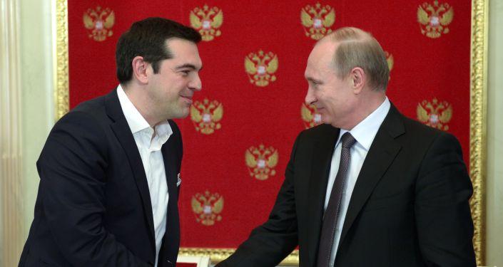 Prezydent Rosji Władimir Putin i premier Grecji Alexis Tsipras