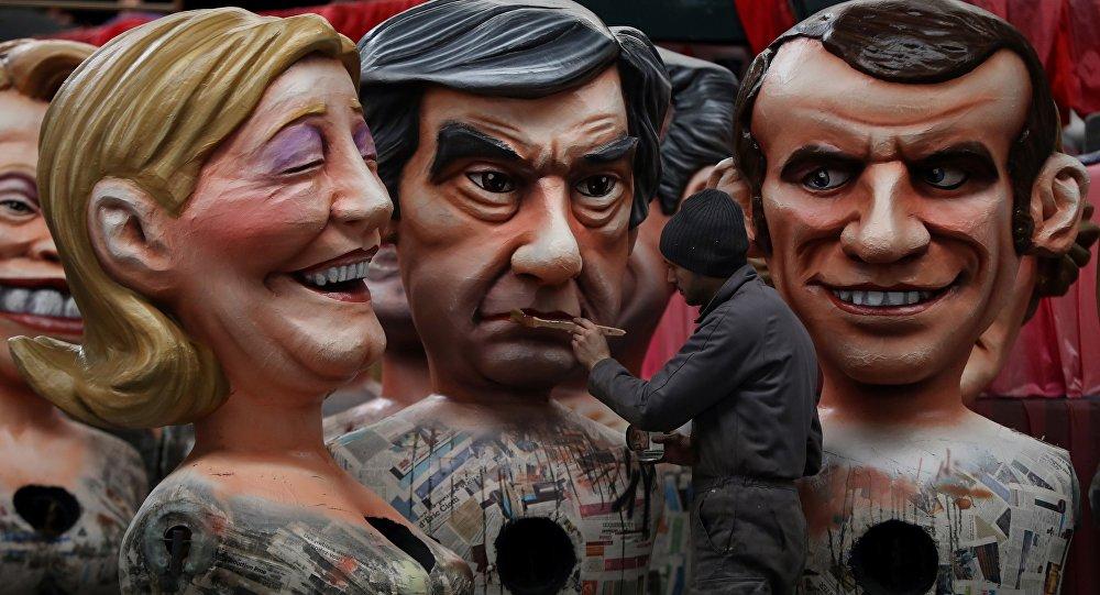 Karykatura kandydatów na urząd prezydenta Francji: François Fillona, Marine Le Pen i Emmanuela Macrona