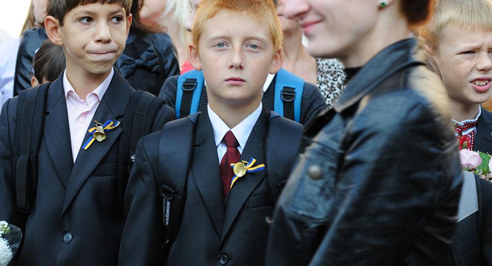 Rozpoczęcie roku w jednej z kijowskich szkół