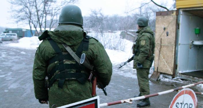 Punkt kontrolny na obrzeżach Gorłówki, w obwodzie donieckim