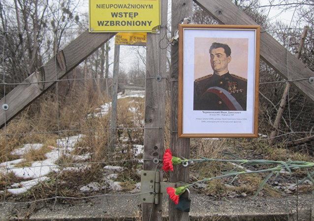 Miejsce, w którym stał pomnik generała Iwana Czerniachowskiego w Pieniężnie