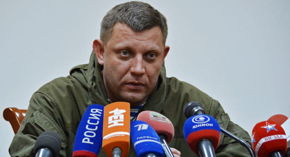 Szef DRL Aleksander Zacharczenko na konferencji prasowej w Doniecku