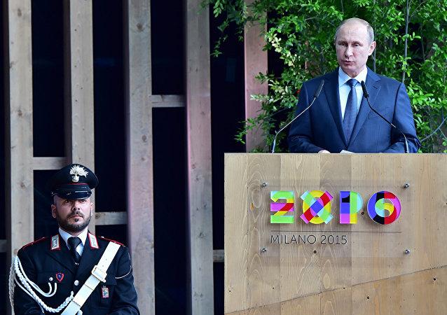 Prezydent Rosji Władimir Putin w Mediolanie na światowej wystawie EXPO, 10 czerwca 2015