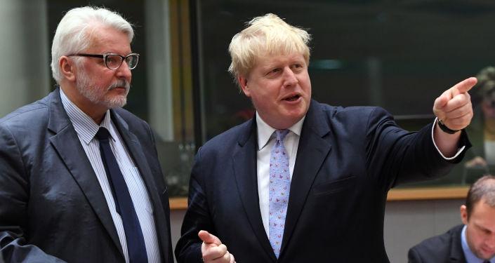 Szefowie MSZ Polski i Wielkiej Brytanii Witold Waszczykowski i Boris Johnson w Brukseli