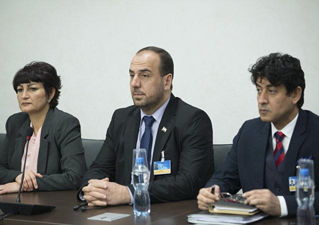 Delegacja syryjskiej opozycji na rozmowach w Genewie, 24 lutego 2017