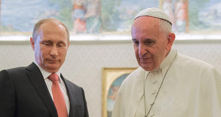 Prezydent Rosji Władimir Putin i Papież Franciszek, 10 czerwca 2015