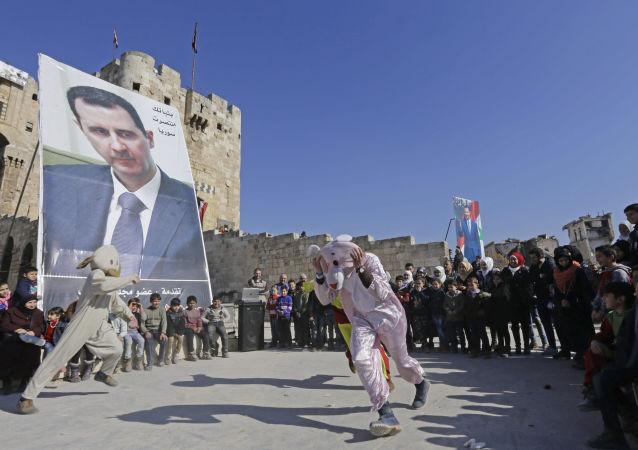 Portret Baszara Asada w Syrii