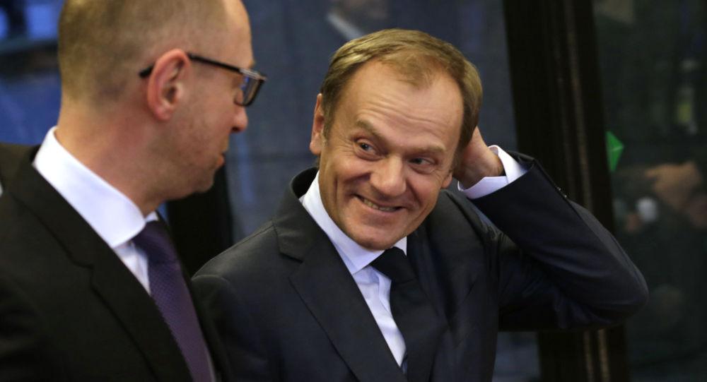 Donald Tusk z Arsenijem Jaceniukiem