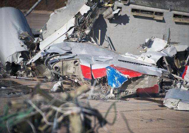 Szczątki samolotu Ministerstwa Obrony Rosji Tu-154 zebrane na terytorium lotniska w Soczi