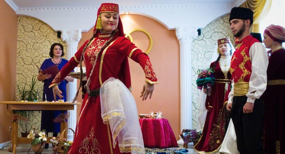 Uczestnicy ceremonii weselnej, Tatarzy na Krymie
