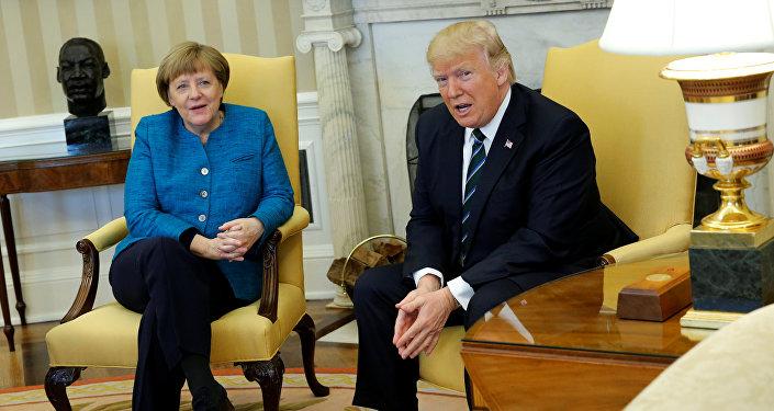 Spotkanie prezydenta USA Donalda Trumpa i kanclerz Niemiec Angeli Merkel w Waszyngtonie, 17 marca 2017 roku.