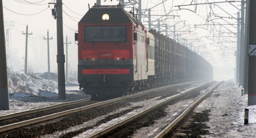 Pociąg towarowy jadący po jednym z odgałęzieni Transsyberyjskiej Kolei w obwodzie nowosyberyjskim