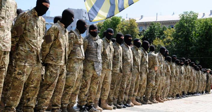 """Członkowie ukraińskiej formacji zbrojnej """"Azow"""""""