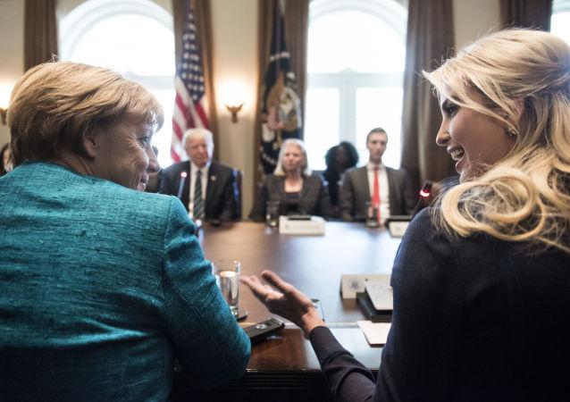 Ivanka Trump na spotkaniu z Angelą Merkel, Waszyngton