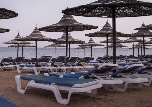 Plaża na terytorium jednego z egipskich hotelów