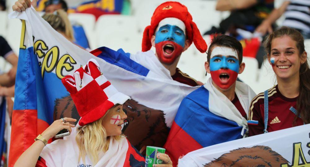 Kibice przed rozpoczęciem meczu fazy grupowej Mistrzostw Europy w Piłce Nożnej