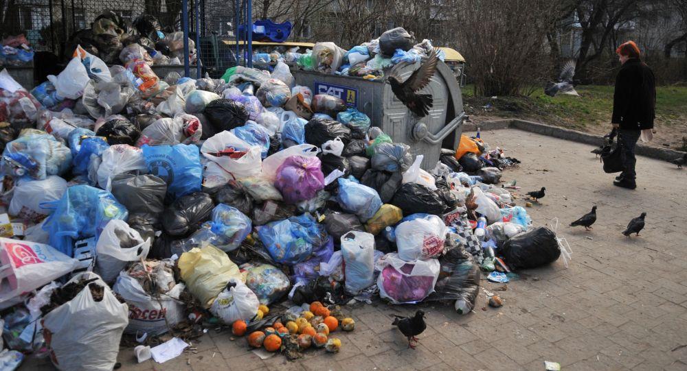 Śmieci na podwórkach Lwowa