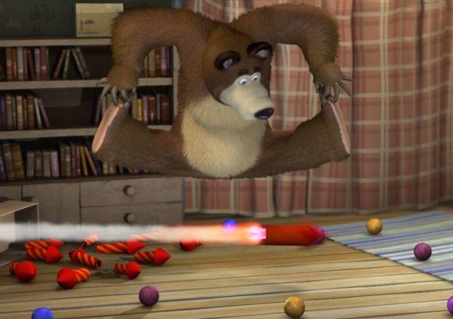Kadr filmu animowanego Masza i Niedźwiedź