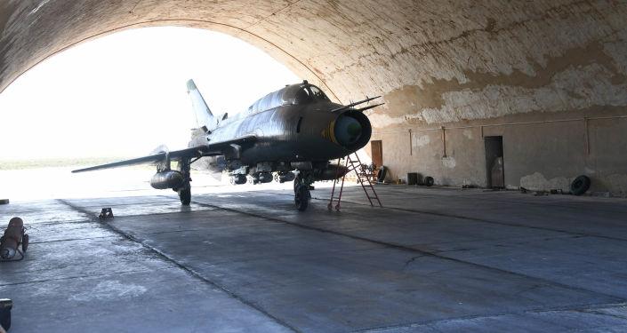 Samolot w bazie lotniczej Szajrat w Syrii