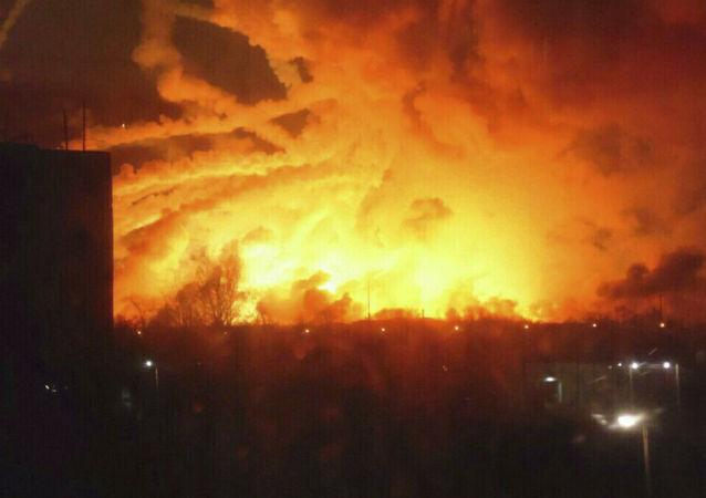 Pożar w magazynie amunicji w Bałakliji w obwodzie charkowskim