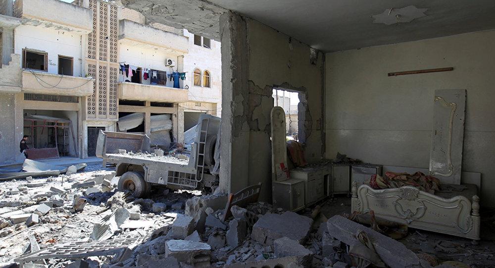 Syryjskie miasto Chan Szajchun w prowincji Idlib