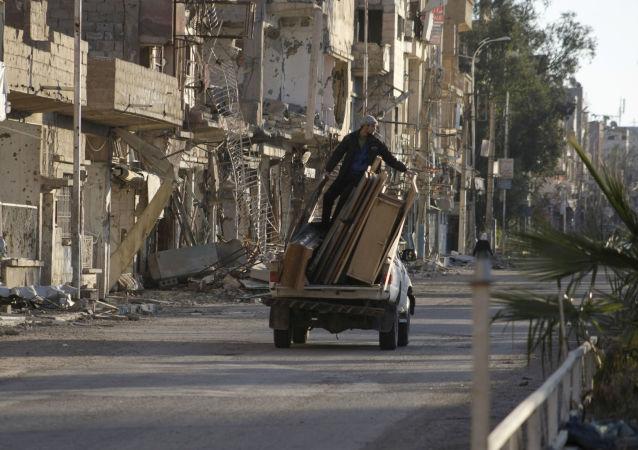 Ulica w syryjskim mieście Dajr az-Zaur