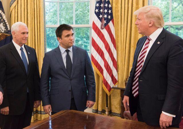 Szef ukraińskiej dyplomacji Pawło Klimkin w Białym Domu