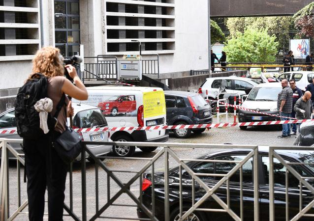 Policja na miejscu wybuchu w Rzymie
