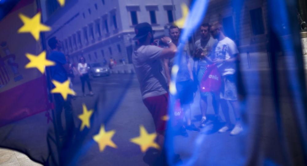 Flaga UE na ulicy w Hiszpanii