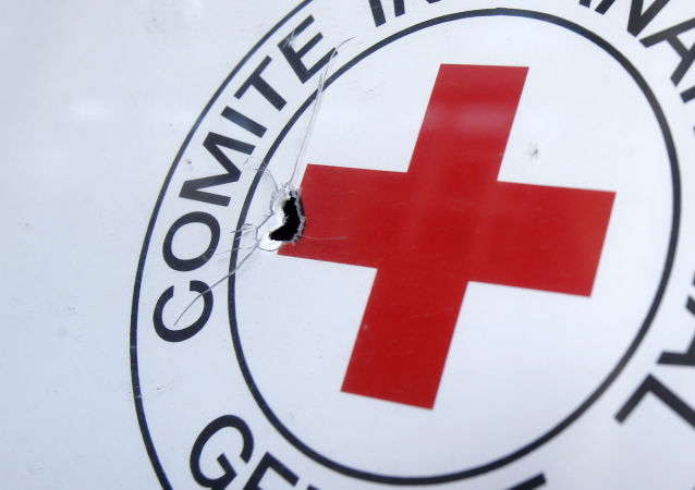 Ślad po kuli na samochodzie Czerwonego Krzyża w Doniecku