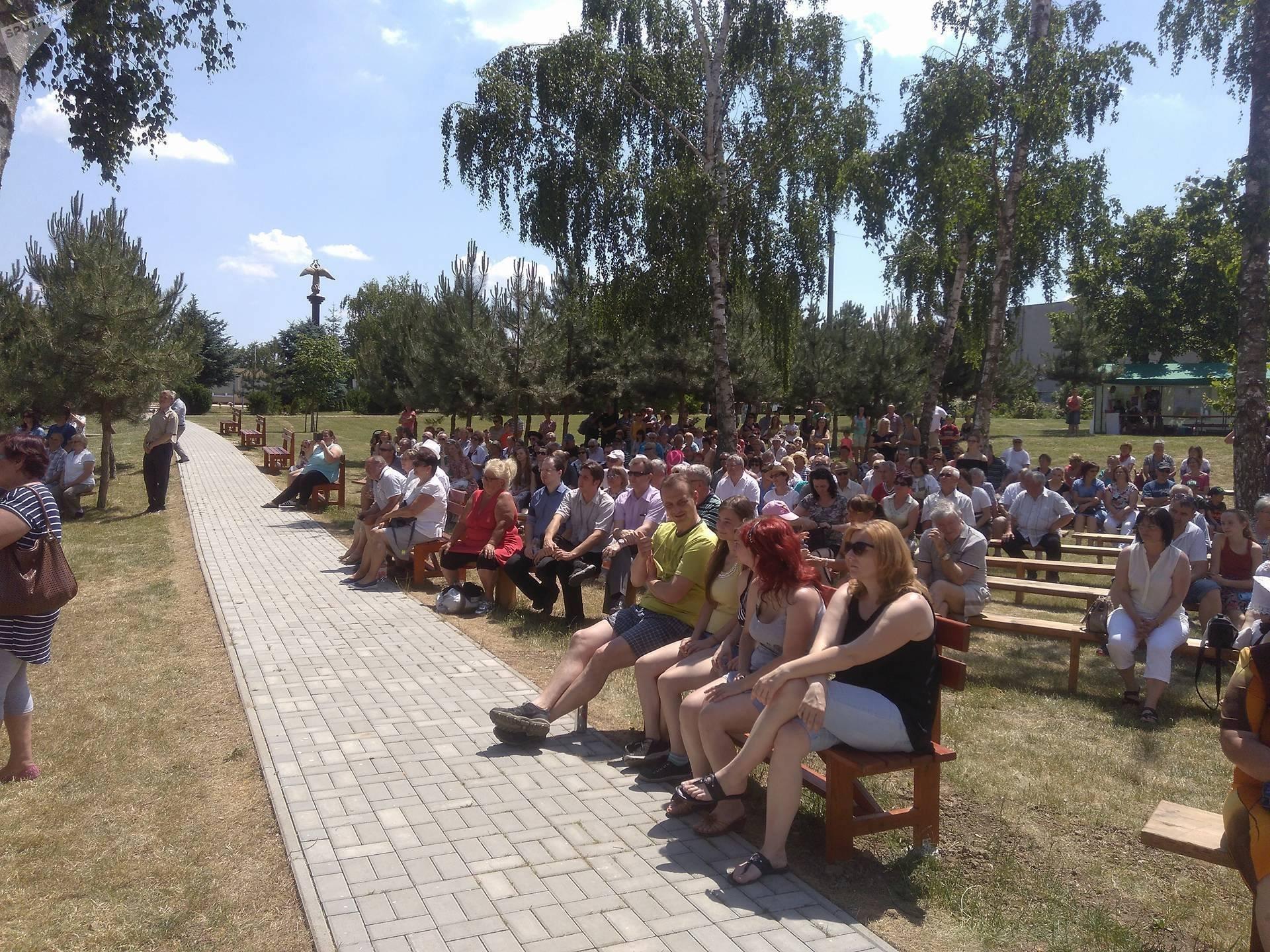 Odsłonięcie tablicy upamiętniającej chór im. Aleksandrowa w Słowacji. Rišňovce, czerwiec 2017.