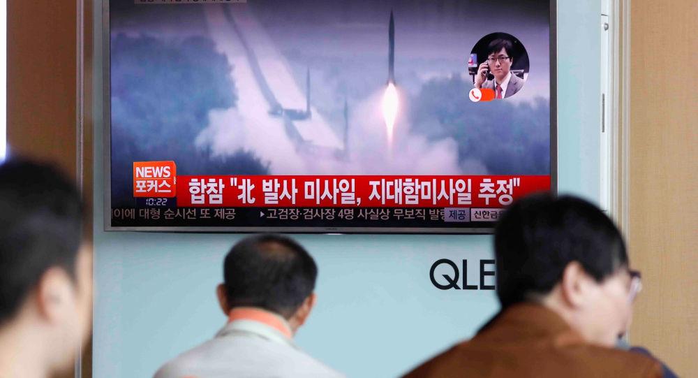 Wiadomość o wystrzeleniu północnokoreańskich pocisków przeciwokrętowych na dworcu kolejowym w Seulu
