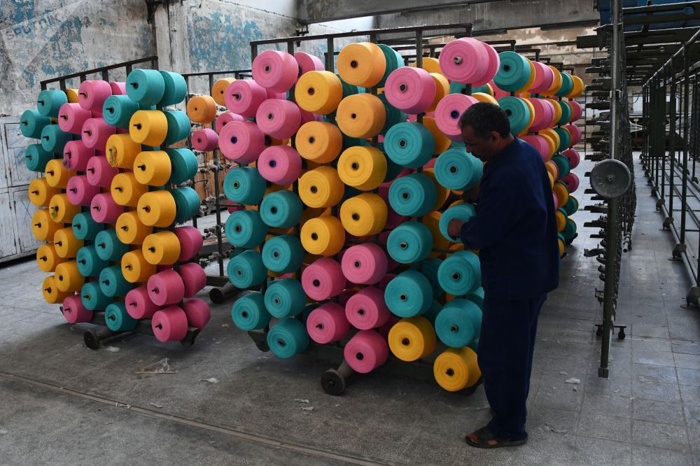 Produkcja tkanin na południowych przedmieściach Damaszku.