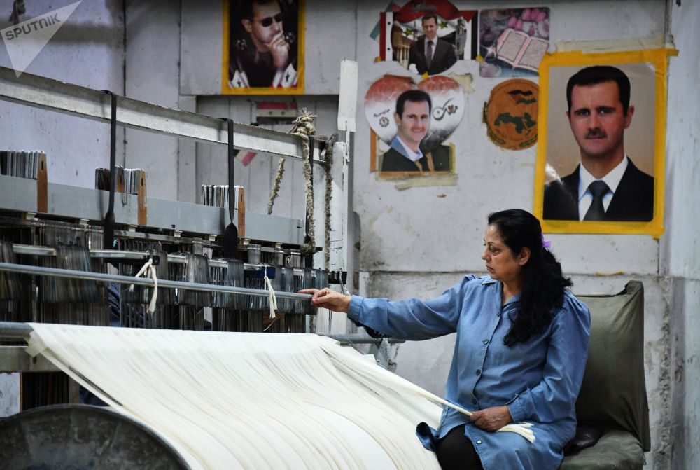 Państwowy zakład produkujący tekstylia na południowych przedmieściach Damaszku.