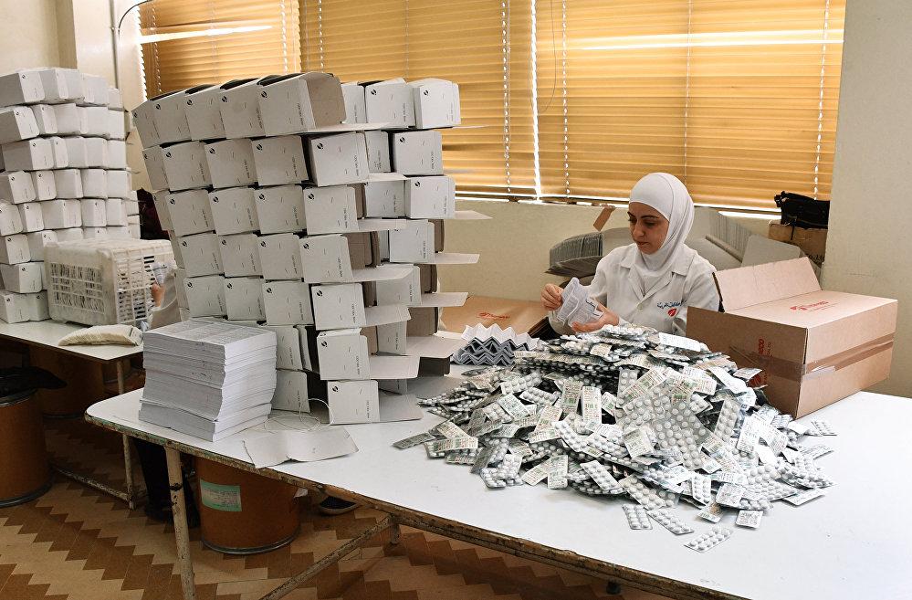Fabryka farmaceutyczna na wschodzie Damaszku w rejonie Bab Sharqi.
