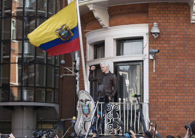 Założyciel WikiLeaks Julian Assange na balkonie ambasady Ekwadoru w Londynie