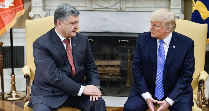 Prezydent Ukrainy Petro Poroszenko i prezydent USA Donald Trump podczas spotkania w Waszyngtonie