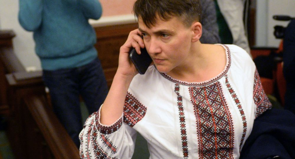 Deputowana ludowa Nadija Sawczenko na posiedzeniu Rady Najwyższej