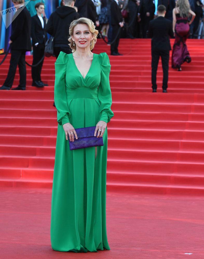 Rzeczniczka MSZ Federacji Rosyjskiej Maria Zacharowa podczas ceremonii otwarcia 39. Moskiewskiego Międzynarodowego Festiwalu Filmowego w Moskwie.