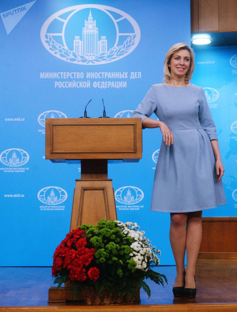 Rzeczniczka MSZ Federacji Rosyjskiej Maria Zacharowa w trakcie briefingu w sprawie bieżących kwestii polityki zagranicznej.