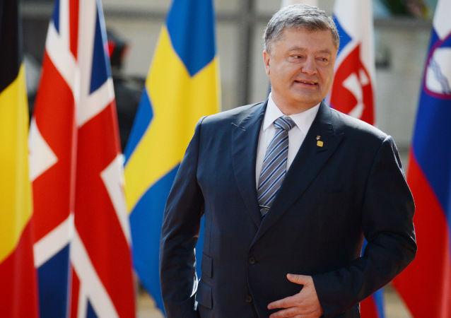 Prezydent Ukrainy Petro Poroszenko podczas spotkania z prezydentem Rady Europejskiej Donaldem Tuskiem w Brukseli