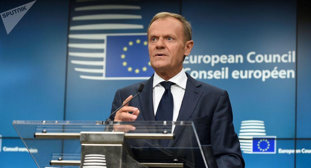 Przewodniczący Rady Europejskiej Donald Tusk w Brukseli