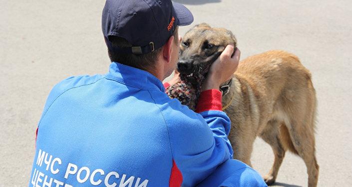 Ratownik z rosyjskiego-serbskiego ośrodka w Niszy i owczarek belgijski
